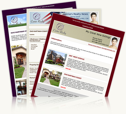 real estate email newsletters and listing flyers