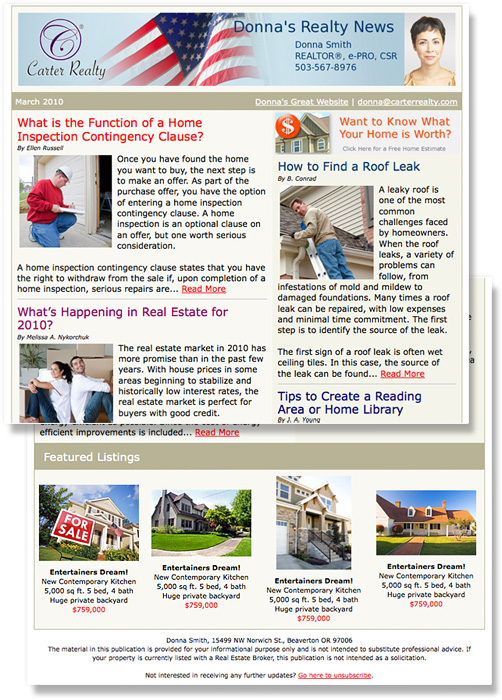 The Monthly Real Estate Email Newsletter